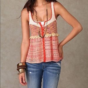 Free People Button Down Knit Tank Top Size Large